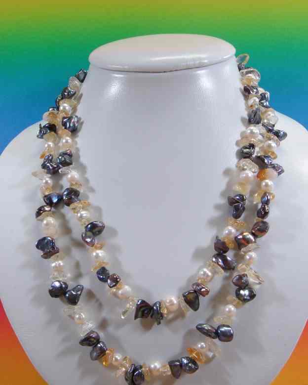 Mit Halskette Weißen U Süßwasserperlen edelsteinen Ljq35AR4
